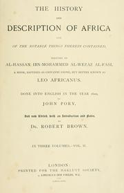 Cover of: The history and description of Africa by Leo Africanus