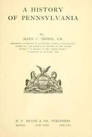 Cover of: A history of Pennsylvania | Allen C. Thomas