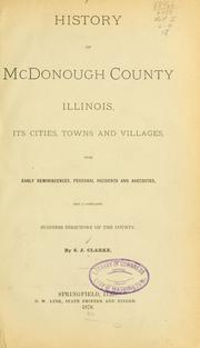 Cover of: History of McDonough county, Illinois | S. J. Clarke