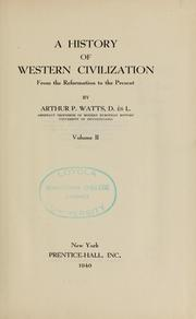 Cover of: A history of western civilization ... | Arthur Pryor Watts