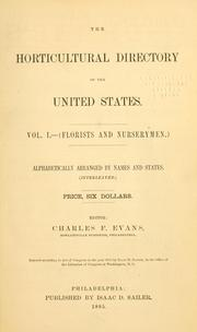 Cover of: horticultural directory of the United States. | Charles F. Evans