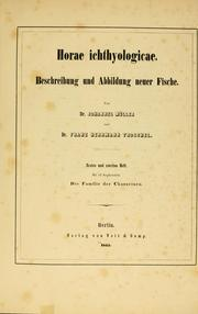 Cover of: Horae Ichthyologicae by Joh Müller