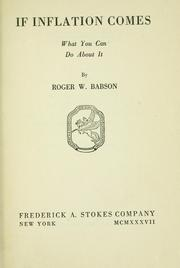 Cover of: If inflation comes | Babson, Roger Ward