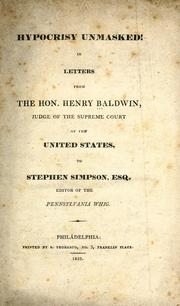 Cover of: Hypocrisy unmasked by Henry Baldwin