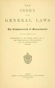 Cover of: The index to the General Laws of the Commonwealth of Massachusetts |