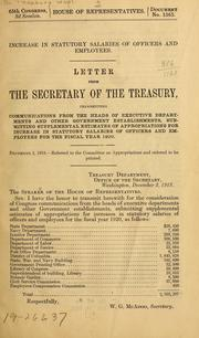 Cover of: Increase in statutory salaries of officers and employees | United States. Dept. of the Treasury.