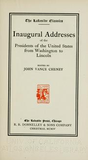 Cover of: Inaugural addresses of the presidents of the United States | President of the United States
