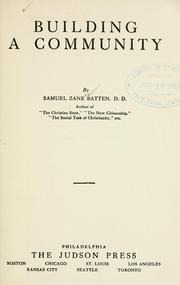Cover of: Building a community | Batten, Samuel Zane