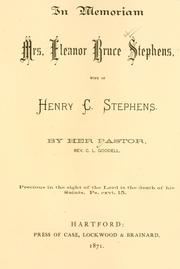 Cover of: In memoriam, Mrs. Eleanor Bruce Stephens : loc | Goodell, C. L.
