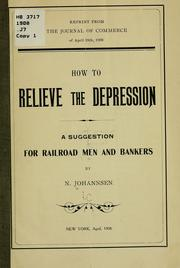 Cover of: How to relieve the depression | Nicolas August Ludwig Jacob Johannsen
