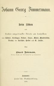 Cover of: Johann Georg Zimmermann by Eduard Bodemann