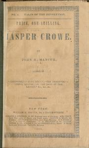 Cover of: Jasper Crowe by John Henry Mancur