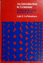 Cover of: An introduction to grammar | Lyda E. LaPalombara