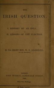 Cover of: Irish question | Gladstone, W. E.