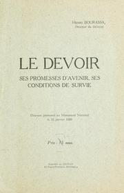 Cover of: Le Devoir, ses promesses d'avenir, ses conditions de survie
