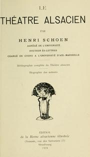 Cover of: Le théâtre alsacien by Henri Schoen