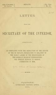 Cover of: Letter from the secretary of the interior | United States. Bureau of Indian affairs