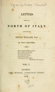 Cover of: Letters from the north of Italy | Rose, William Stewart.