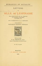 Cover of: ... Letters of Mlle. de Lespinasse