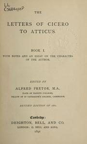 Cover of: Letters to Atticus, Book I by Cicero
