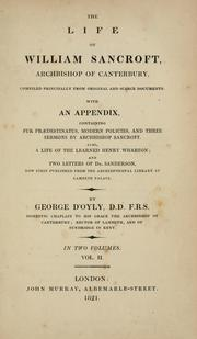 Cover of: The life of William Sancroft, Archbishop of Canterbury | George D'Oyly
