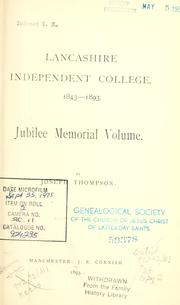 Cover of: Lancashire Independent College, 1843-1893 by Joseph Thompson