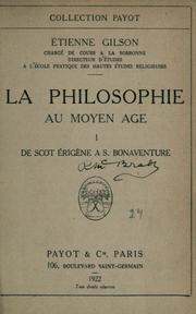 Cover of: La philosophie au moyen âge by Étienne Gilson