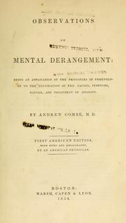 Cover of: Observations on mental derangement | Combe, Andrew