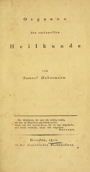 Cover of: Organon der rationellen Heilkunde | Samuel Hahnemann