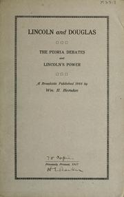 Cover of: Lincoln and Douglas by William Henry Herndon