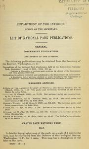 Cover of: List of national park publications | United States. Dept. of the Interior.