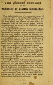 Cover of: [Constitution, list of members, etc | Boston society for the diffusion of useful knowledge