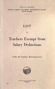 Cover of: List of teachers exempt from salary deductions under the Teachers