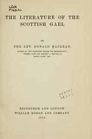 Cover of: The literature of the Scottish Gael | Donald Maclean