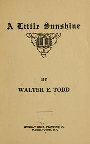 Cover of: A Little Sunshine | Walter E. Todd