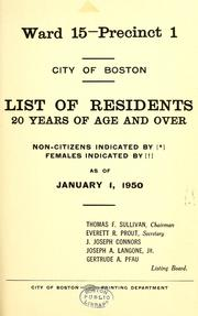 Cover of: List of residents. [title may vary]. | Boston, Massachusetts. Election Department.