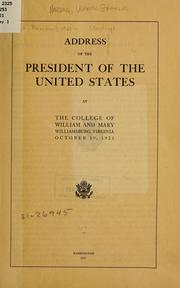Cover of: Address of the President of the United States at the College of William and Mary | Harding, Warren G.
