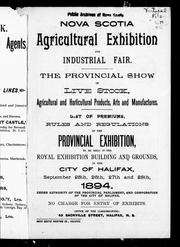 Cover of: Nova Scotia Agricultural Exhibition and Industrial Fair |