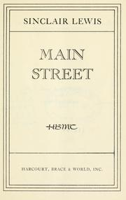 Cover of: Main Street | Sinclair Lewis