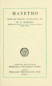 Cover of: Manetho, with an English translation by W.G. Waddell | Manetho.