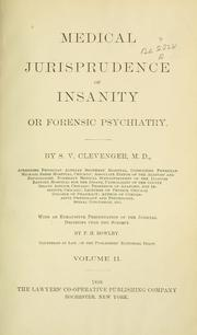 Cover of: Medical jurisprudence of insanity | Shobal Vail Clevenger