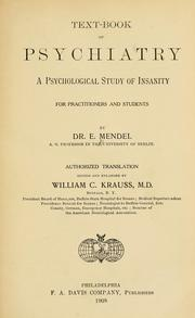 Cover of: Text-book of psychiatry by Emanuel Mendel