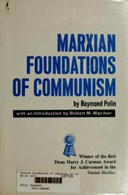 Cover of: Marxian foundations of communism | Raymond Polin