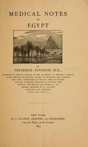 Cover of: Medical notes in Egypt | Peterson, Frederick