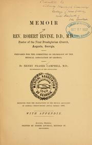 Memoir of Rev. Robert Irvine, D. D., M. D.