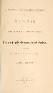 Cover of: A memorial of Charles Sumner by Johnson, Samuel