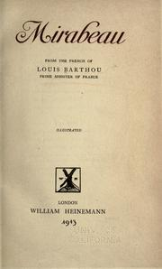 Cover of: Mirabeau | Barthou, Louis