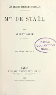 Cover of: Mme de Staël
