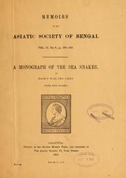 Cover of: monograph of the sea snakes (Hydrophiinae). | Frank Wall