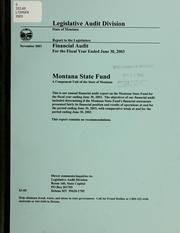 Montana State Fund by Montana. Legislature. Legislative Audit Division.